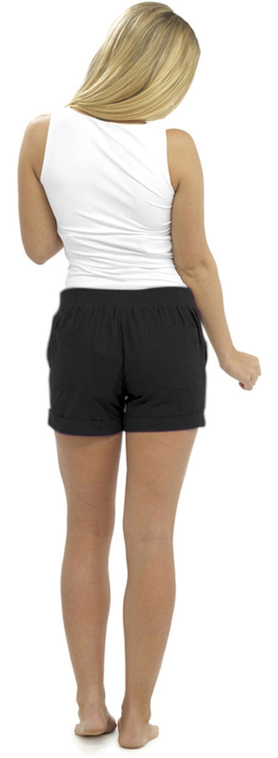 Ladies Linen Shortie Shorts Black Back