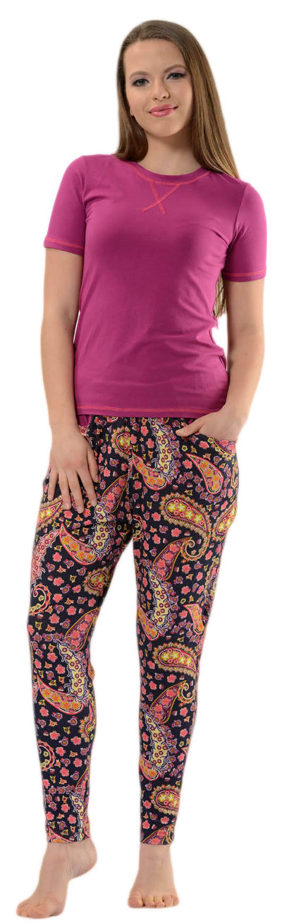 OCTAVE Ladies Plain T-Shirt & Lovely Paisley Print Long Pants Summer Pyjama Set