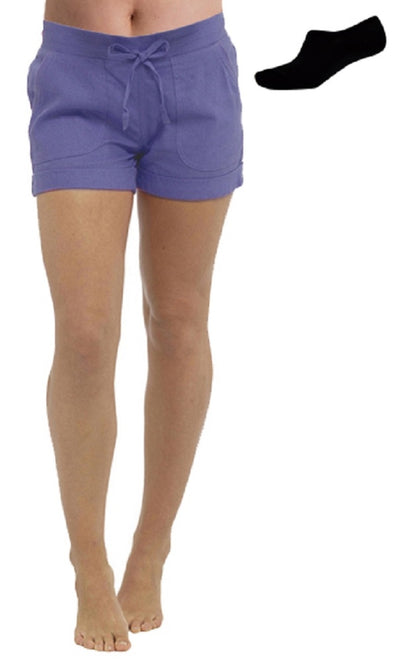 OCTAVE Ladies Linen Shortie Shorts - Blue