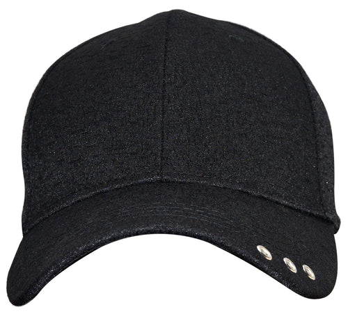 OCTAVE Unisex Baseball Cap Hat - Tuck Strap Embossed Design 3 Metal Eyelets - Black