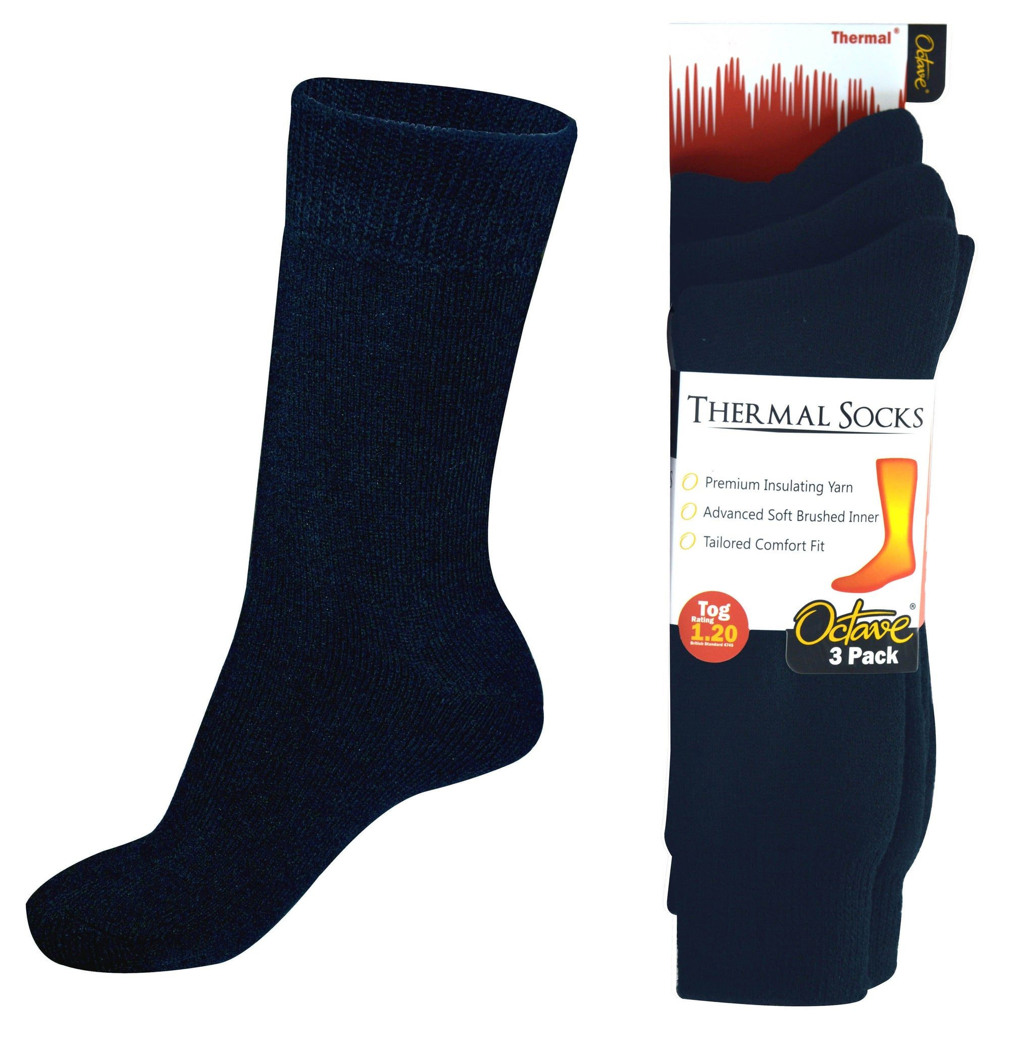 OCTAVE Mens Thermal Socks - 1.2 TOG  Pack of 3 - Navy