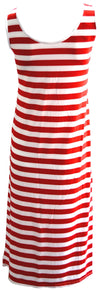 Red and White Maxi Dress front