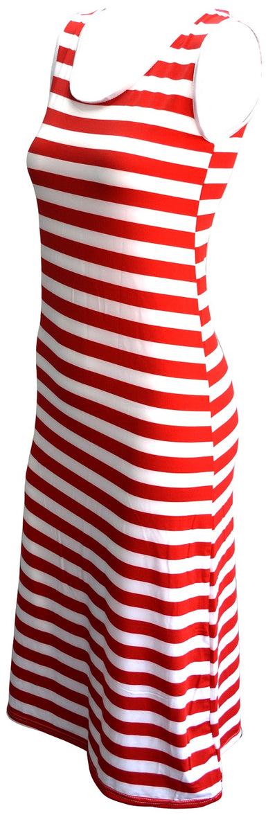 OCTAVE Ladies Maxi Dress Striped Design - Red & White