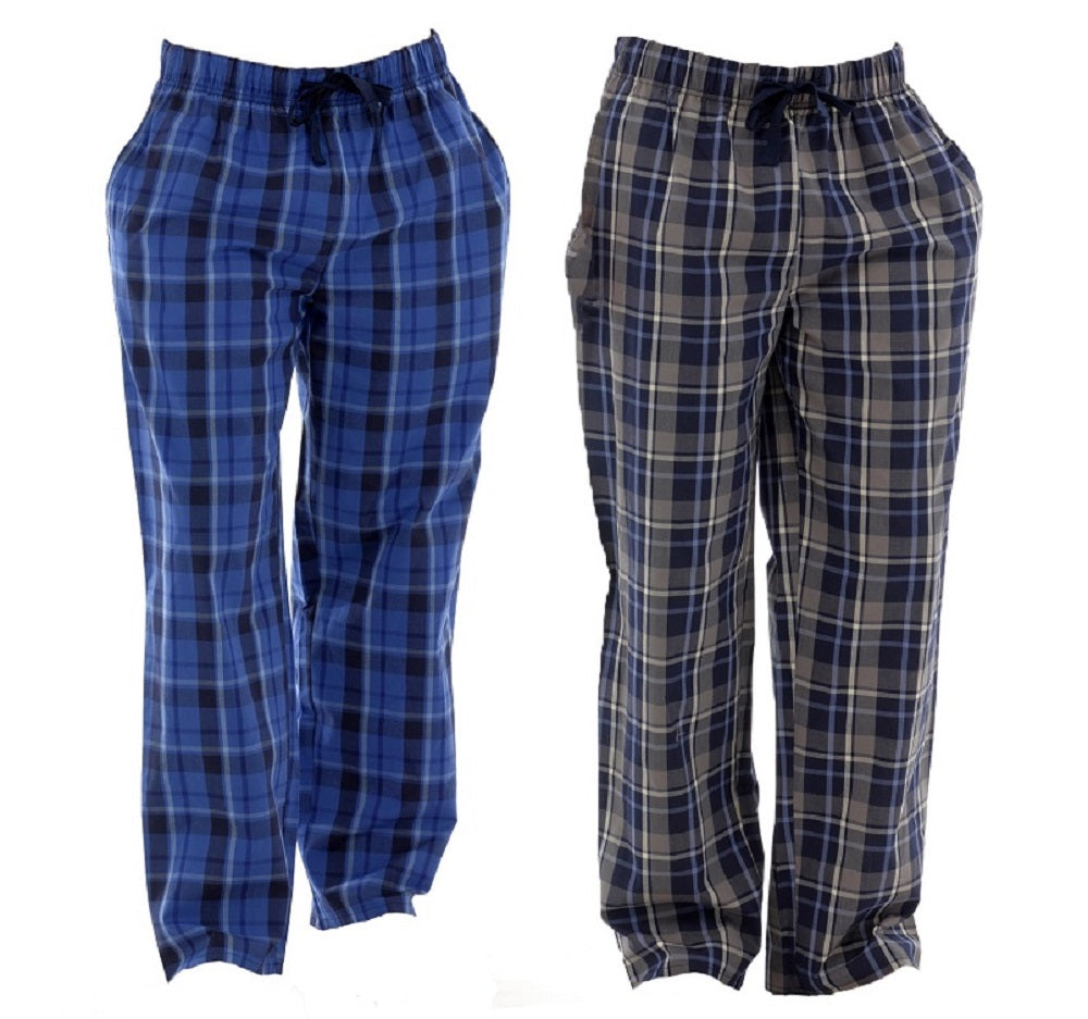 OCTAVE Mens Yarn Dyed Checked Loungewear Pants / Pyjama Bottoms - Pack of 2