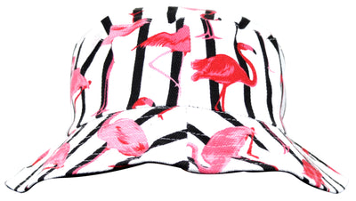 OCTAVE Reversible Bucket Hat - White Flamingo Print / Black