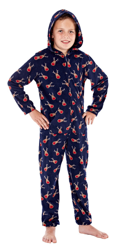 Christmas Warm Hooded Onesie All In One Navy
