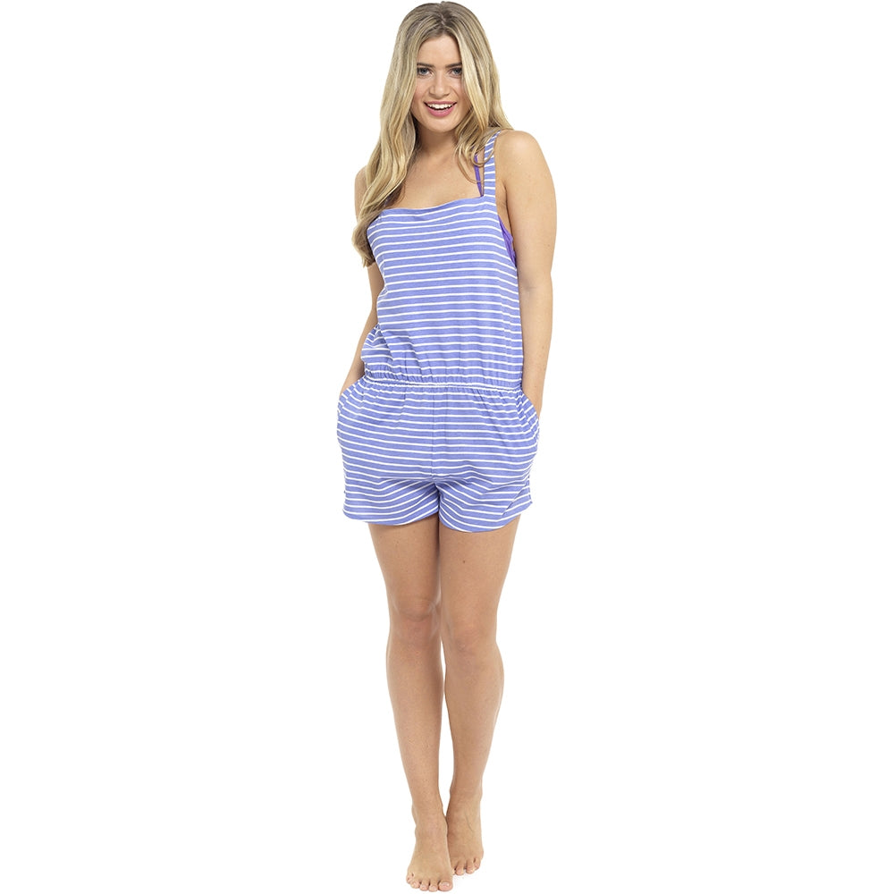 Playsuit Summer Beach Wear blue striped