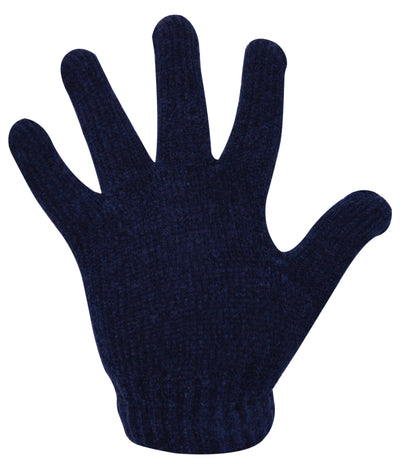 Black Ladies Chenille Gloves