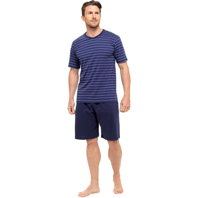 Navy With Blue Stripes T-Shirt & Navy Shorts