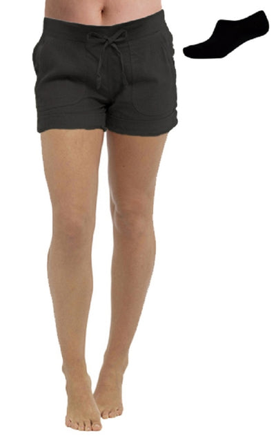 Ladies lightweight Linen Shortie Shorts Black
