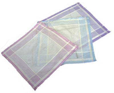 Passionelle Ladies White 100% Cotton Handkerchiefs With Stripes Boxed 3 Pack
