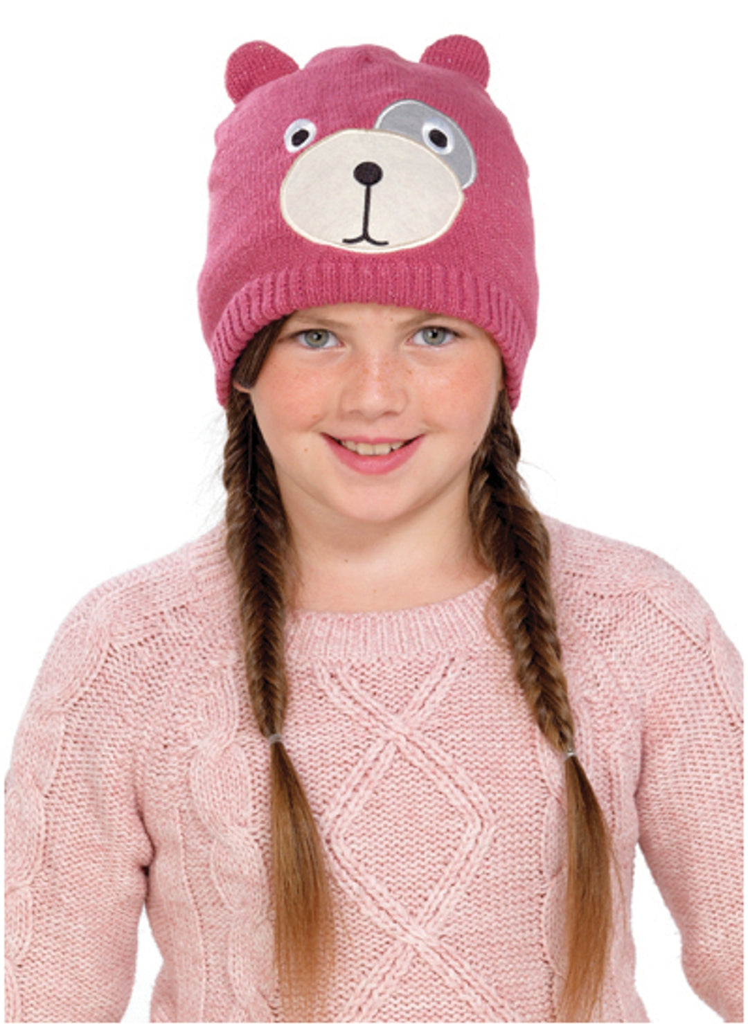 Pink Knitted Teddy Bear Face Hat