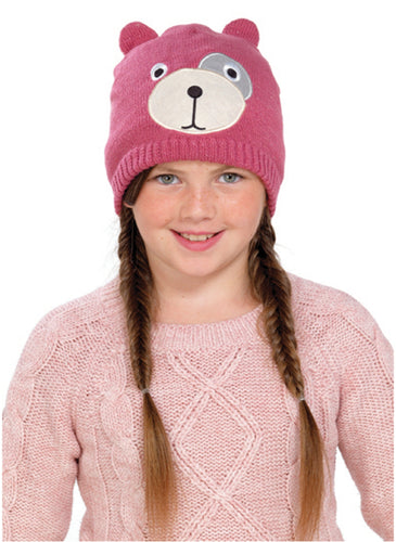 OCTAVE Girls Knitted Teddy Bear Face Hat With Lurex