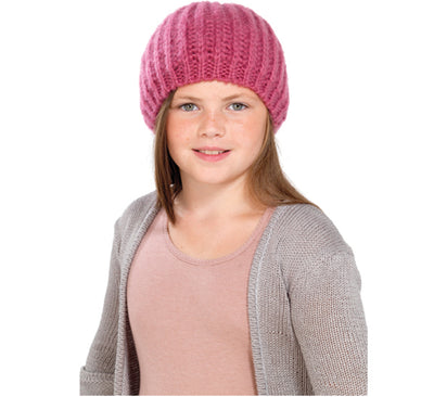 OCTAVE Girls Knitted Beanie Beret Hat With Lurex