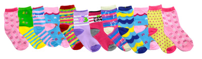 OCTAVE 12 Pairs Girls Kids Children Toddlers Ankle Socks In Cute Funky Designs-Assorted Colours