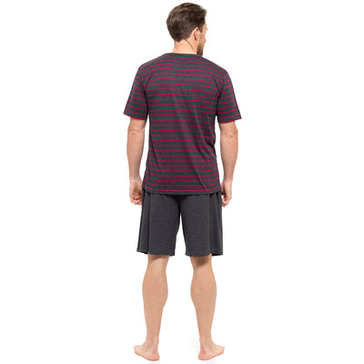 Dark Grey With Dark Red Stripes T-Shirt & Dark Grey Shorts