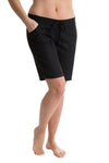 OCTAVE Ladies Linen Shorts with Plain Invisible Liner Socks in Black