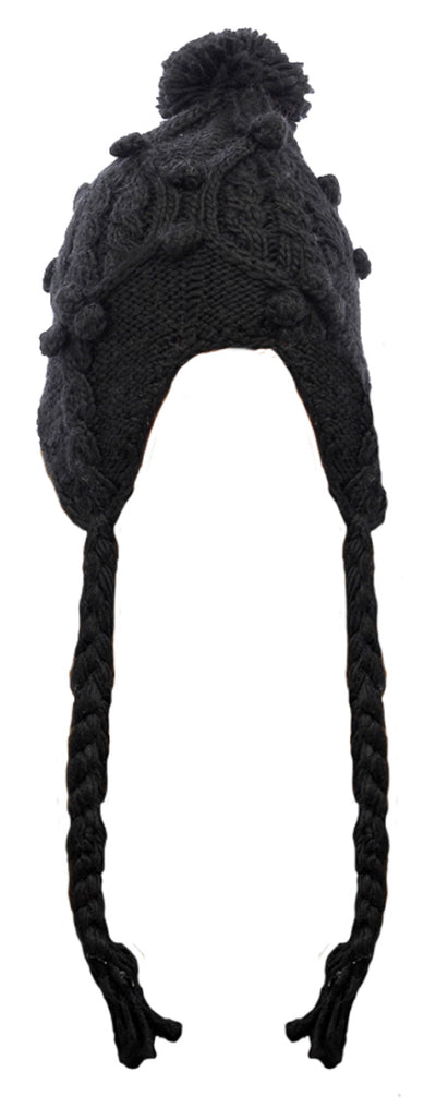 Black Chunky Knitted Peruvian Hat