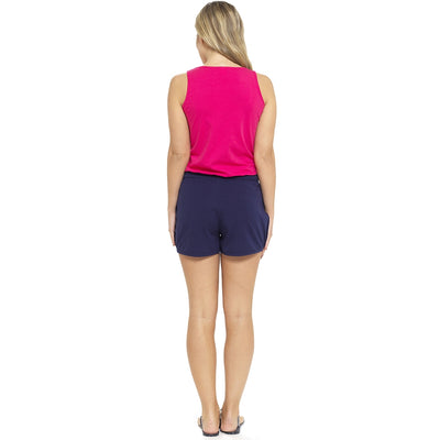 Ladies Jersey Cotton Summer Beach Shorts - Navy Back