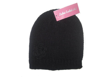 Black Ladies Beanie Knitted Hat