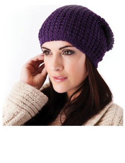 Ladies Knitted Slouch Beanie Hat Purple