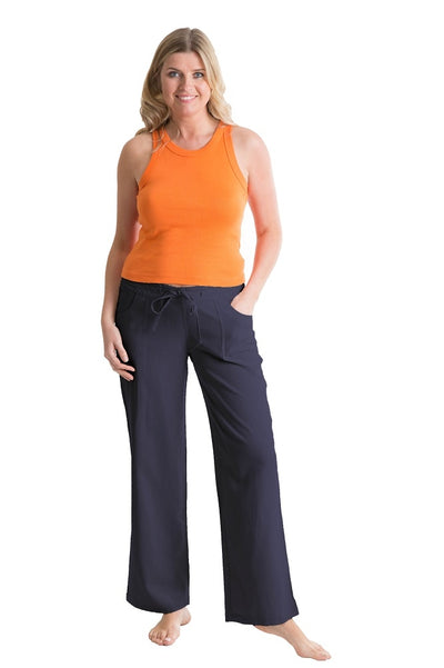 OCTAVE Ladies Linen Trousers -  Navy (Front)