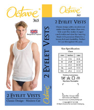 Load image into Gallery viewer, OCTAVE 2 Pack Mens Cotton Rich Classic Eyelet String Mesh Net Sleeveless Vests