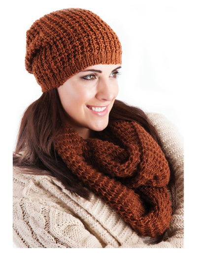 Ladies Knitted Slouch Beanie Hat Tan