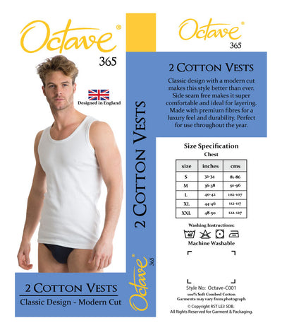 OCTAVE 2 Pack Mens Soft 100% Combed Cotton Classic Vests Either Black or White