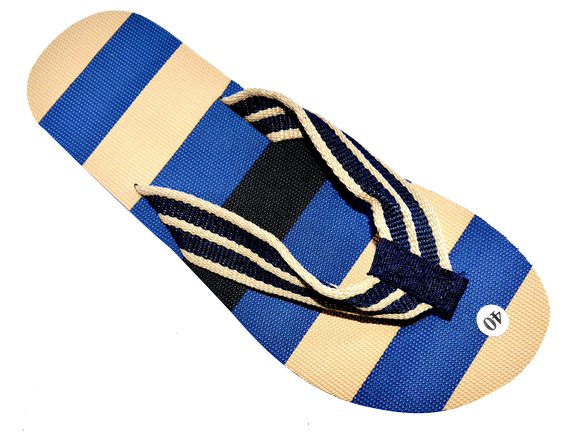 OCTAVE Mens Striped Comfort Strap Design Flip Flops - Navy