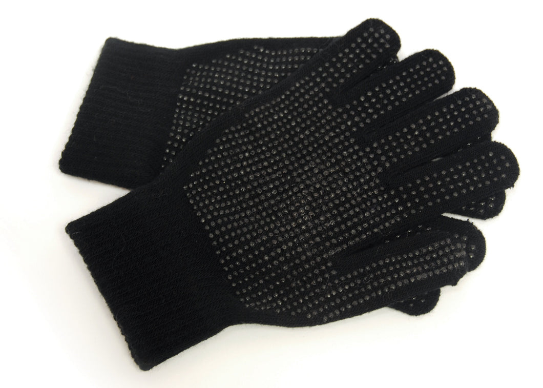 OCTAVE Adults Unisex Warm Stretchy Magic Gripper Gloves Black With Dotted Grips