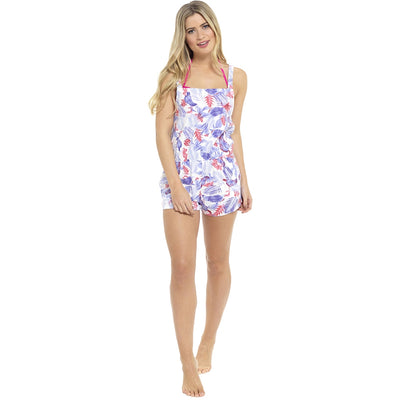 Playsuit Summer Beach Wear white floral striped