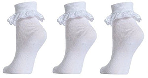 OCTAVE Pack of 3 Baby to Girls White Cotton Rich Frilly, Lace Socks With Elastane, Various sizes!