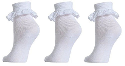 Baby to Girls White Cotton Lace Socks pack of 3