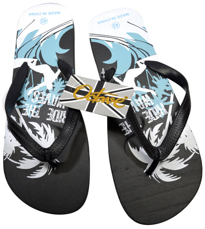 OCTAVE Mens Surfing Design Flip Flops - Black