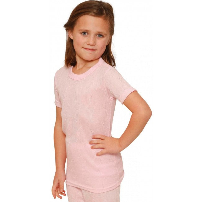 Octave® Girls Thermal Underwear Fancy Knit Short-Sleeve Top