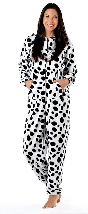 OCTAVE Ladies Spot Dog Design Animal Hooded Onesie Loungewear All In One