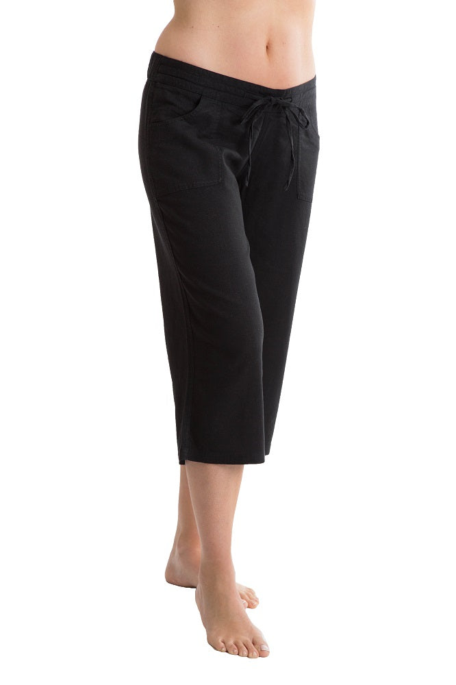 Octave Ladies Linen Cropped Black