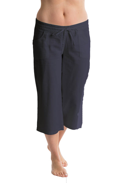 Octave Ladies Linen Cropped Dark Navy