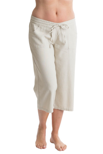 Octave Ladies Linen Cropped Stone