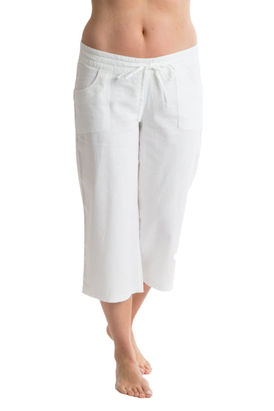 Octave Ladies Linen Cropped White