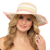 Octave Ladies Summer Straw Sun Hats - Natural With White & Pink Strips