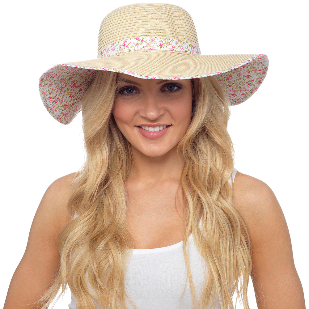 Octave Ladies Holiday Sun Hats - Natural With Pink Floral Trim