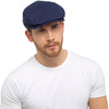 OCTAVE Mens Gatsby Style Cotton Linen Flat Cap - Fishing Golf Peak Festival Hat