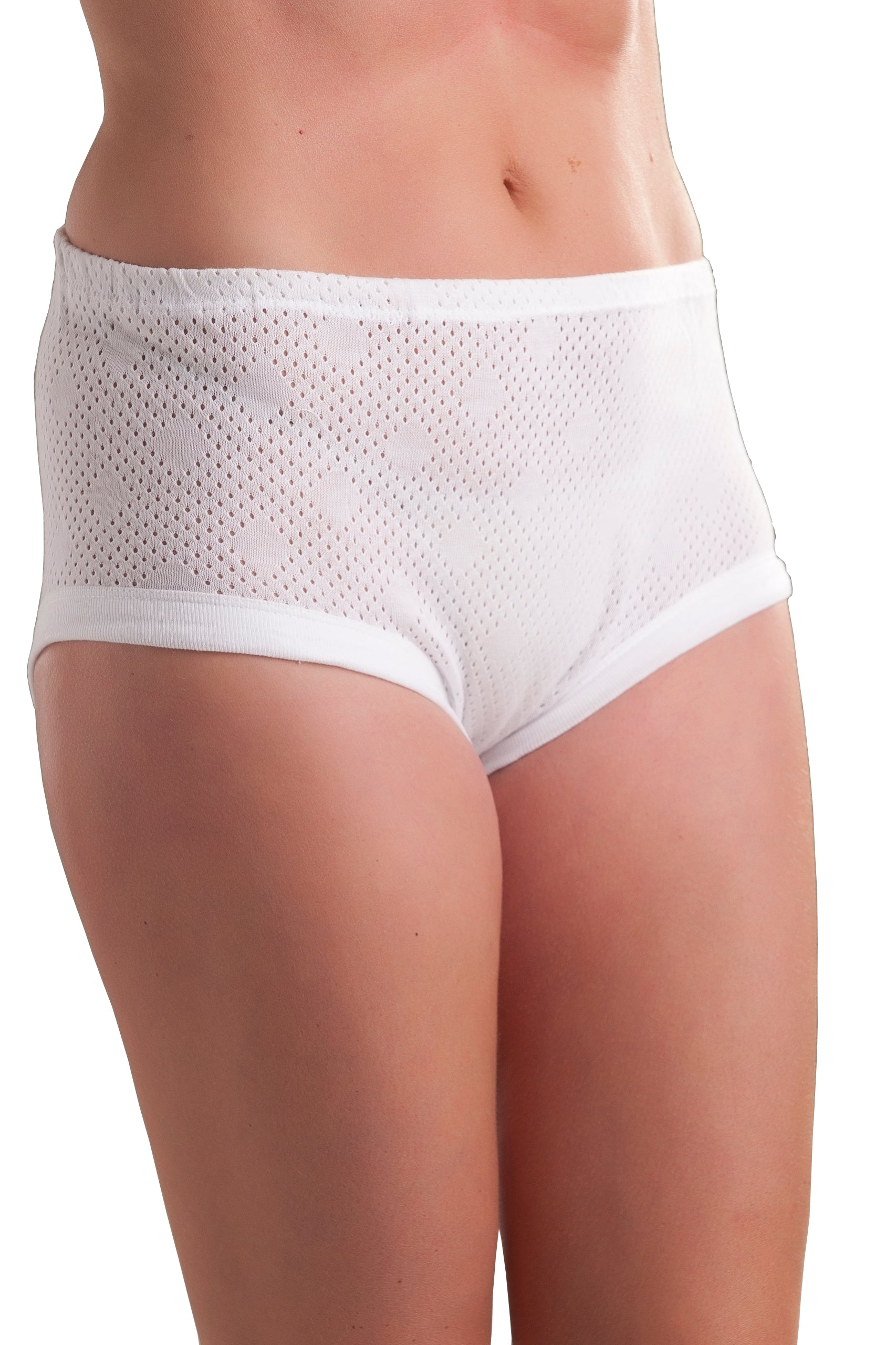3 Pack : Passionelle® Womens Cuff Leg Extra Comfortable Mama Briefs - 100% Soft Cotton Eyelet Fabric
