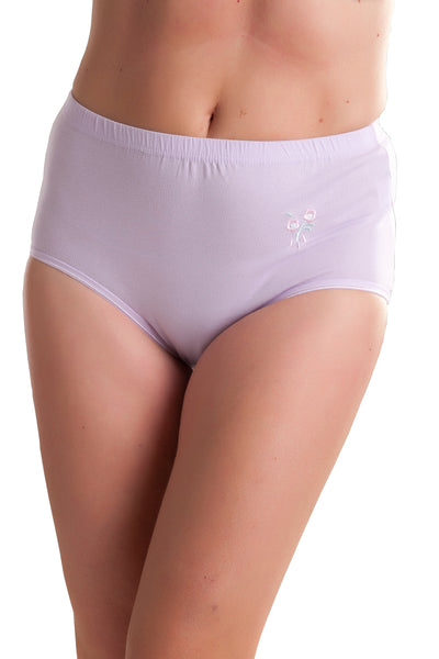PACK of 3 : Passionelle® Womens Soft Mama Briefs with Embroidery