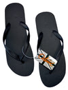 OCTAVE Mens Flip Flops - Solid Plain Design - Black