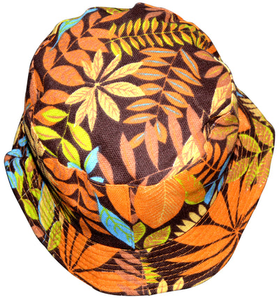 OCTAVE Reversible Bucket Hat - Orange Leaf Print/Stone