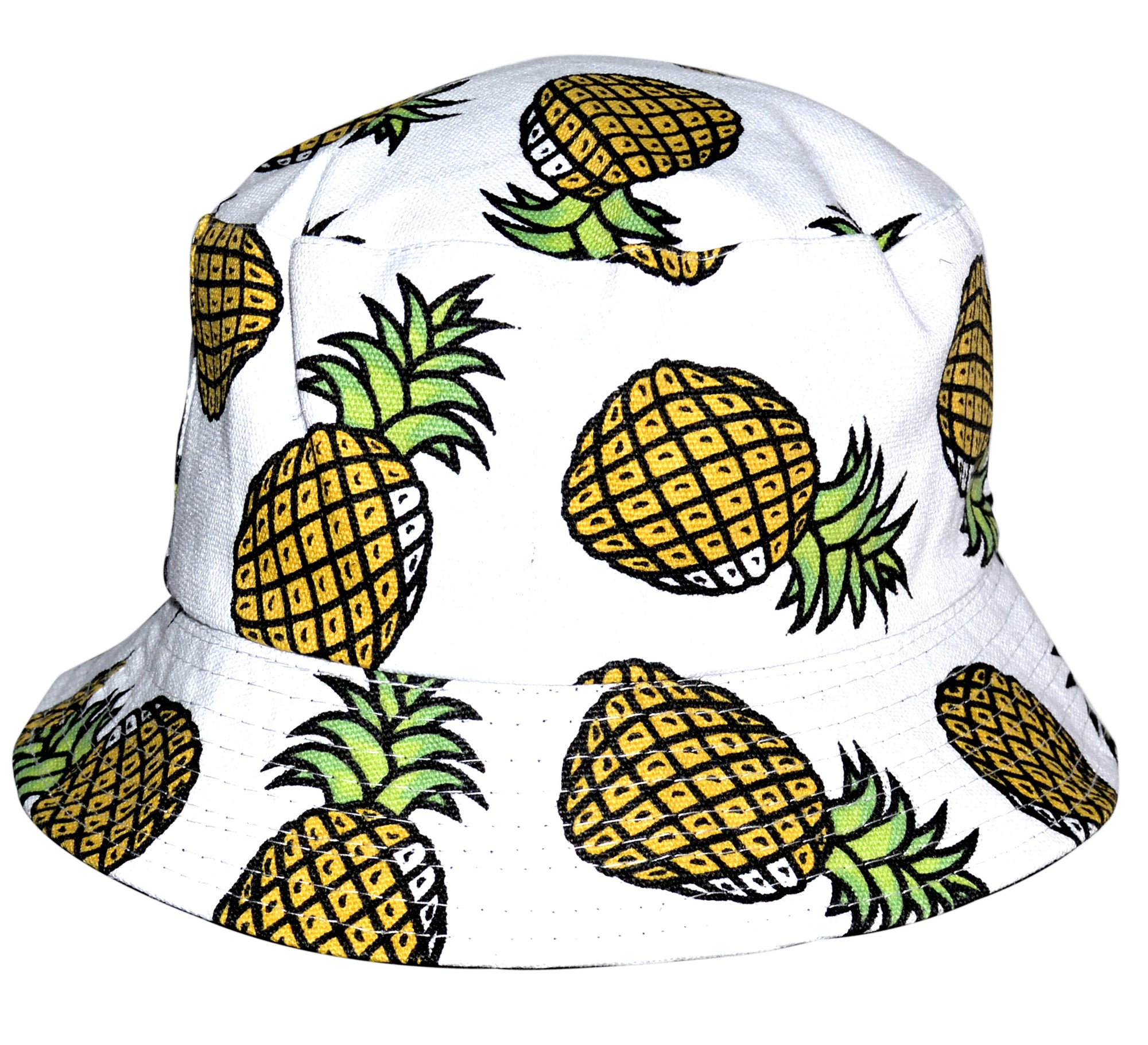 OCTAVE Reversible Bucket Hat - White With Pineapple Print/Black