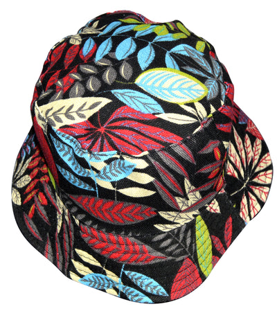 OCTAVE Reversible Bucket Hat - Red Leaf Print/Black